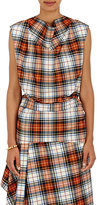 Cédric Charlier Women's Plaid Wool-Blend Belted Sleeveless Blouse-WHITE