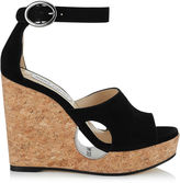 Jimmy Choo NEYO 120 Black Suede Cork Wedges with Cut-out