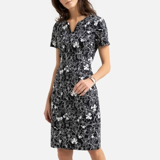 Anne Weyburn Stretch Cotton Shift Dress in Floral Print
