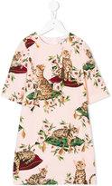 Dolce & Gabbana floral cat print dress