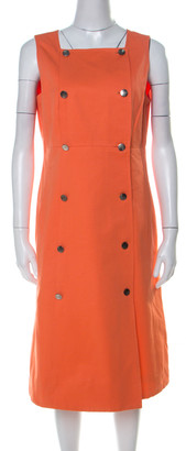 Chanel Boutique Orange Cotton Sleeveless Pinafore Dress L