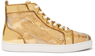 Christian Louboutin Louis Foil-embellished High-top Leather Trainers - Mens - Gold