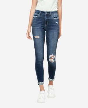 Flying Monkey Women's High Rise Distressed Roll Up Skinny Crop Jeans