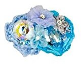 Tarina Tarantino Fashion Couture - Iconic Collection - Swarovski Crystal Linen & Organza Flower Collage Hairclip - Blue #HC03S7-2