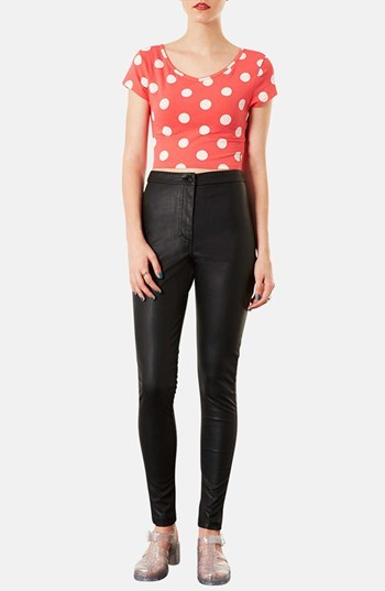 Topshop 'Debbie' High Waist Faux Leather Pants