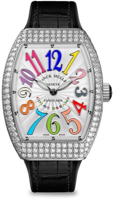 Franck Muller Vanguard Color Dreams Stainless Steel, Diamond, Alligator & Rubber Strap Watch
