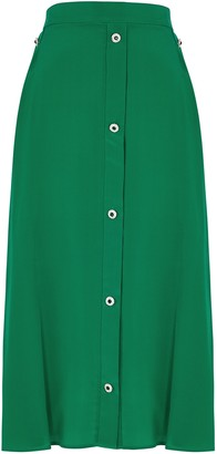 Christopher Kane Green embellished crepe de chine midi skirt
