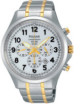 Pulsar Men's Solar Chronograph Two-Tone Stainless Steel Bracelet Watch 43mm PX5041