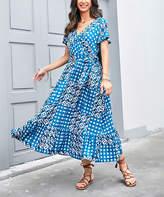 Reborn Collection Women's Maxi Dresses blue - Blue Geometric Ruffle-Hem Wrap Dress - Women
