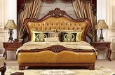 Ma Xiaoying bed room sets.Solid Beech frame,genuine leather,European Classic style,Carved by hand.Includes 3pcs:California king bed,2night stands.Khaki