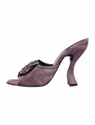 Prada Striped Crystal Embellishments Slides Purple