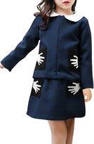 uxcell® Girls Textured Cardigan w Hand Pattern A Line Skirt Sets