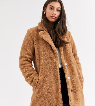 Vero Moda Tall longline teddy coat in brown