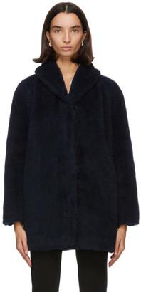 Max Mara Navy Alpaca and Silk Teddy Coat