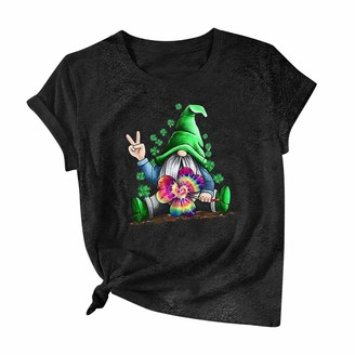 Jiegorge Women's Blouse Women Casual St. Patrick's Day Printed Cotton Short Sleeve T-Shirt Tops Tees