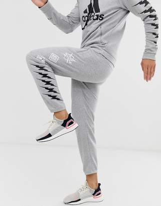 adidas Training GRFX graphic pants in grey