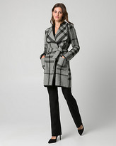 Le Château Check Print Wool Blend Open Collar Coat