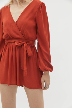 Urban Outfitters Mona Surplice Long Sleeve Romper