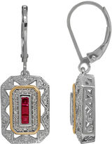 FINE JEWELRY Lab-Created Ruby and 1/8 CT. T.W. Diamond Drop Earrings