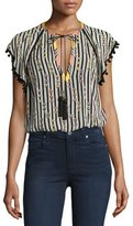Talitha Collection Striped Pompom-Trim V-Neck Blouse, Black/White