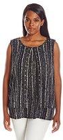 Rafaella Women's Plus Size Textured Stripe Print Layered Tank