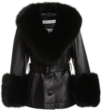 Saks Potts Shorty Fur-Trimmed Belted Leather Jacket
