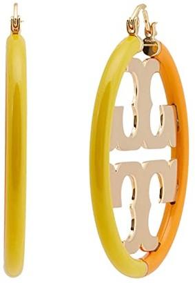 Tory Burch Miller Enamel Hoop Earrings (Tory Gold/Tory Orange/Dandelion) Earring