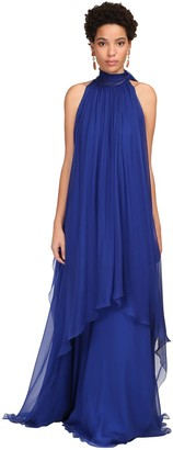 Alberta Ferretti Draped Silk Chiffon Long Dress