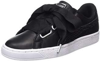 Puma Women's Basket Heart Oceanaire Low-Top Sneakers, Black White