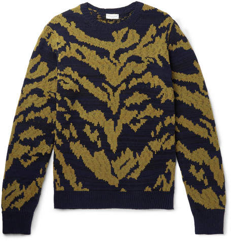 Dries Van Noten Tiger-Intarsia Cashmere, Cotton And Wool-Blend Sweater