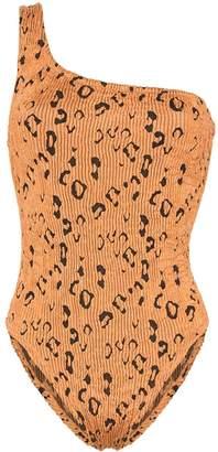 Hunza G Nancy one-shoulder leopard print swimsuit