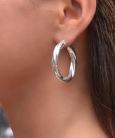 Golden Moon Women's Earrings Silver - Sterling Silver Swirl Hoop Earrings