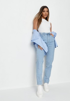 Missguided Tall Blue High Waisted Distressed Waist Jeans