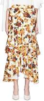 Ellery 'Saloon' floral print ruffle crepe maxi skirt