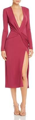 Cushnie Plunging Twist-Detail Midi Dress