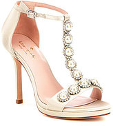 Kate Spade Freya Satin Faux Pearl T-Strap Dress Sandals