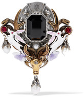 Alexander McQueen Gold And Silver-tone, Pearl, Swarovski Crystal And Enamel Brooch