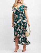 Charlotte Russe Plus Size Floral Cold Shoulder Maxi Wrap Dress