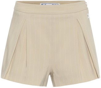 Off-White High-rise cotton-blend shorts