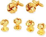 Linked Up Knot Cuff Links & Shirt Stud Set, Golden