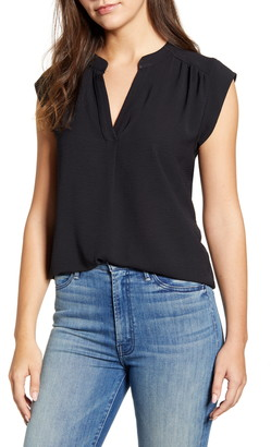 Gibson Crinkle Split Neck Top