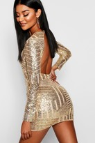 boohoo Boutique Beth Sequin Open Back Bodycon Dress gold