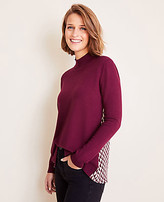 Ann Taylor Geo Back Mixed Media Sweater