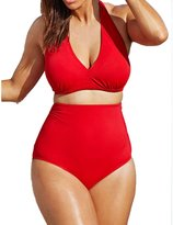 FunnnyRabbbit Women Solid Vintage Two Piece Puls Size Bikini Swimsuit Sexy Swimwear