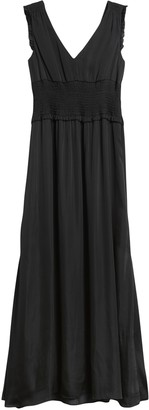 Banana Republic Petite Satin Smocked Maxi Dress