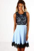 Pink Boutique Cha Cha Blue and Black Crochet Skater Dress
