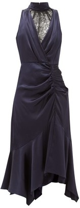 Jonathan Simkhai Ruched Chantilly-lace And Silk-charmeuse Dress - Navy Multi