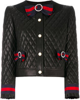 Gucci Quilted jacket with Web bows - women - Silk/Cotton/Calf Leather/Viscose - 42