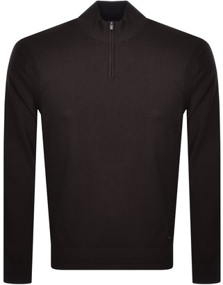 Giorgio Armani Emporio Half Zip Knit Jumper Brown