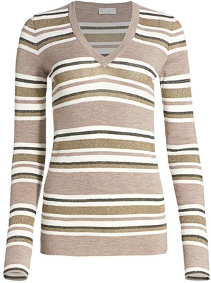 Brunello Cucinelli Sparkling Stripes Wool & Cashmere Knit Sweater